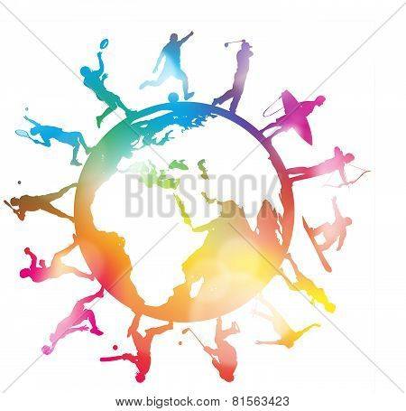 Abstract Sporting Silhouettes Around A Colourful Globe.