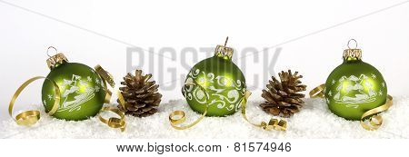 Christmas decoration from green Balls and cones