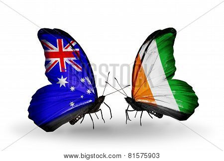 Two Butterflies With Flags On Wings As Symbol Of Relations Australia And Cote Divoire
