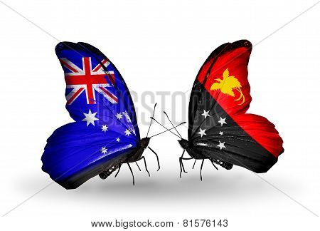 Two Butterflies With Flags On Wings As Symbol Of Relations Australia And Papua New Guinea