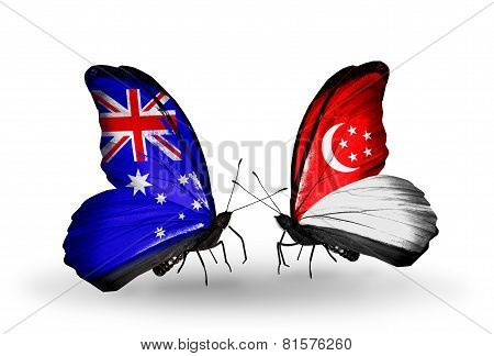 Two Butterflies With Flags On Wings As Symbol Of Relations Australia And Singapore