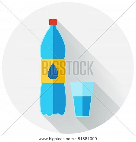 Flat design of water bottle and glass of water icon