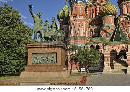 Monument citizen Minin and Prince Pozharsky on Red Square poster
