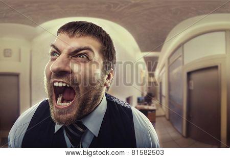Man shouting at office