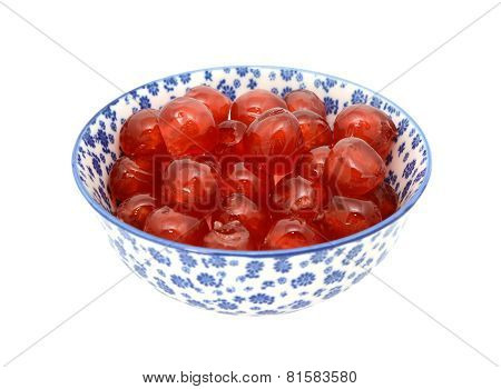 Glace Cherries In A Blue And White China Bowl