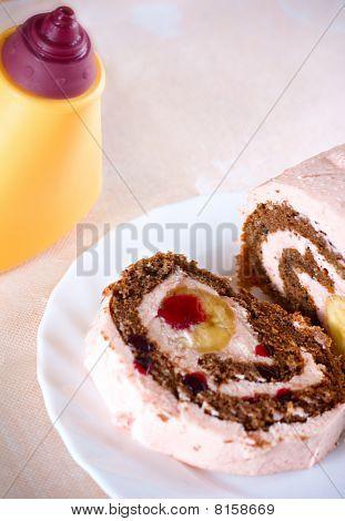 Sweet Banana Cake Creamy Desert At Plate