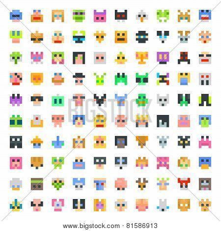 Large Set Of Pixel Faces