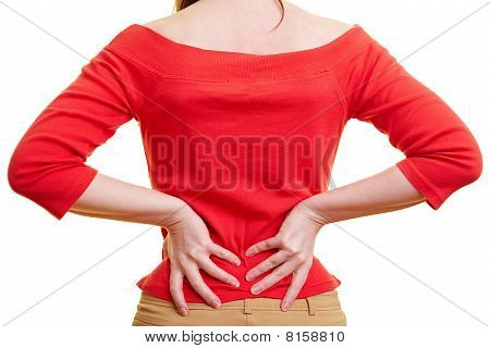 Woman Holding Hands On Her Back