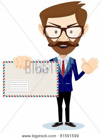 Happy Man Delivering Mail Over White Background