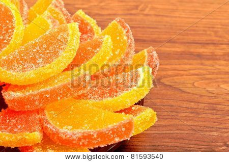 Candied Lemon, Candied Orange, Candied Fruit On The Wood