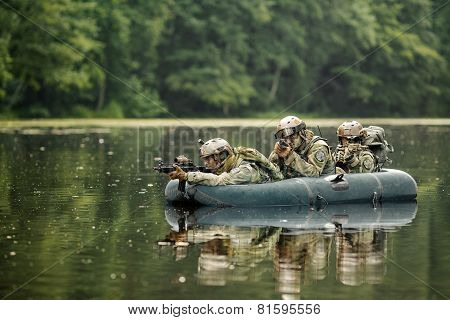 Soldiers In A Boat Sailing Ahead