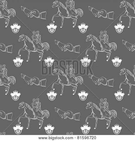 Vector Seamless Wedding Pattern On Gray Background