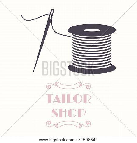 Thread Spool And Needle Icon