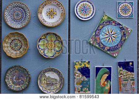 Colorful Display Of Traditional Amalfi Hand Painted Ceramics