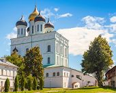 Classical Russian ancient religious architecture. Trinity Cathedral located since 1589 in Pskov Krom or Kremlin. Orthodox Church poster