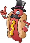 A rich proper hot dog gentleman with a mustache wearing a top hat and monocle poster