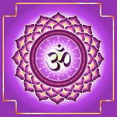 Sahasrara. Decorative design element esoteric Buddhistic symbol of the chakras poster