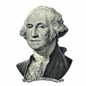 Portrait of first USA president George Washington as he looks on one dollar bill obverse. Clipping path inside. poster