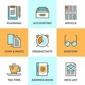 Line icons set with flat design elements of office accounting and clerk working routine business planning paperwork routine personal time management. Modern vector pictogram collection concept. poster