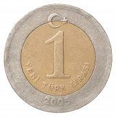 One Turkish Lira closeup isolated on white background poster