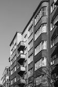Facades of tenements built in the style of modernism in Katowice, Poland. poster