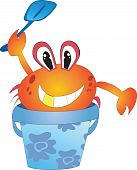 Funny crub in the blue bucket with scoop. poster