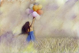 The Young Woman With Balloons. Vintage Filter