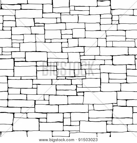 Seamless Brick Wall Background (drawn With Ink).