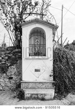 Italian Traditional Votive Temple In The Countryside Dedicated To The Virgin Mary