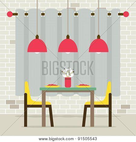 Empty Dinning Room Interior.