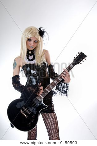 Sexy Gothic Girl With Guitar