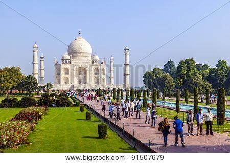 People Visit Taj Mahal In Agra, India