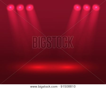 Bright scene with red projectors. Raster version