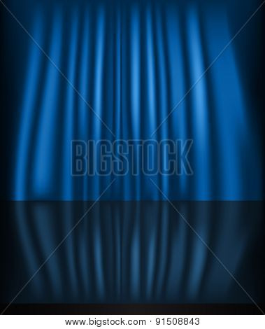 Abstract curtain blue background. Raster version