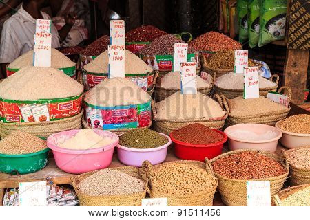 Baskets With Rice And Beans For Sale On A Market