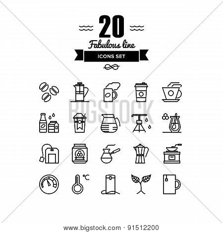 Coffee And Tea Elements Line Icons Set