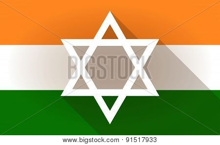 India Flag Icon With A David Star