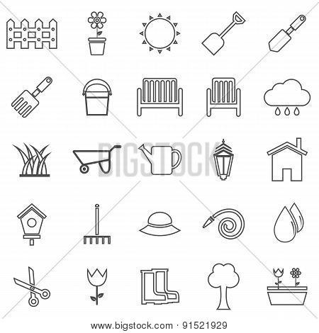 Gardening Line Icons On White Background
