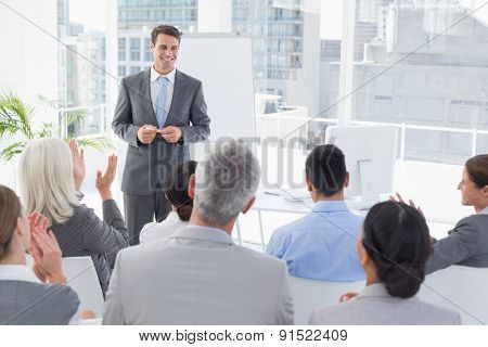 Businessman doing speech during meeting in office