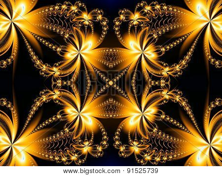 Fire Flower Pattern In Fractal Design. Brown And Fire.