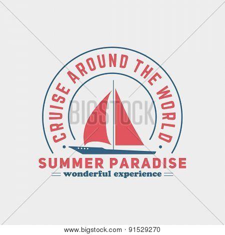 Retro Summer Travel Badge or Label. Vector Design Element