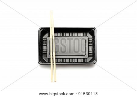 Plastic Food Container With Chopstick