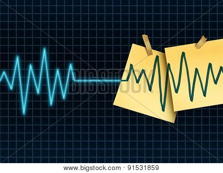 Life extension concept as a medicine and medical science symbol for slowing down or reversing the process of aging as an ekg or ecg lifeline death flatline with taped office notes extending the the lifesespan of a patient or organ donation and transplant. poster