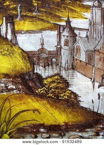 Landscape stained glass window