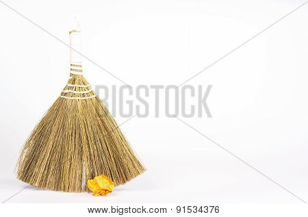 besom and color paper ball isolated