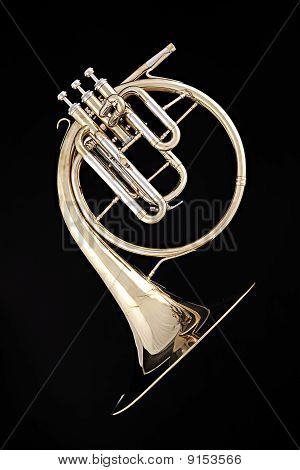 Antique Gold French Horn Isolated