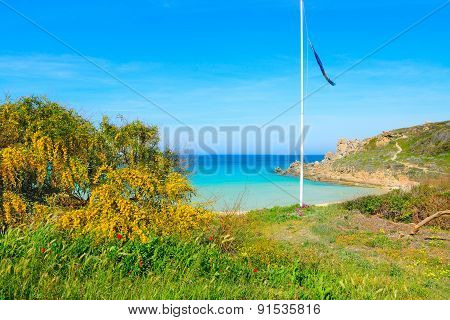 Flagpole By The Shore In Rena Bianca