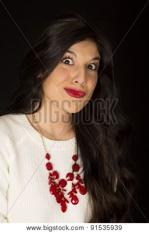 Bright Eyed Funny Expression On A Pretty Dark Complected Female Model