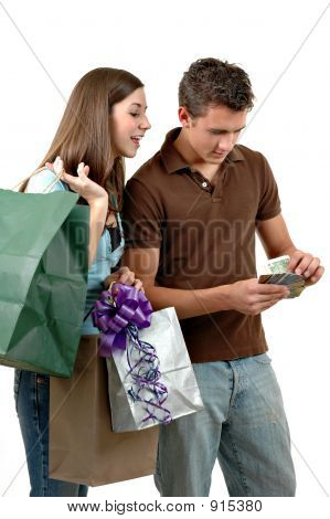 a couple out recklessly spending money for gifts poster