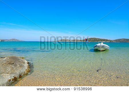 Rubber Boat In Porto Pollo Shore